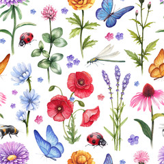 Panel Szklany Podświetlane Łąka Wild flowers and insect illustrations. Watercolor summer pattern