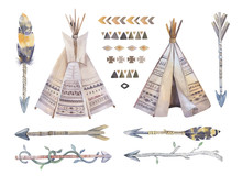 Watercolor Teepee, Arrows, Fearhers And Tomahawk. Boho America