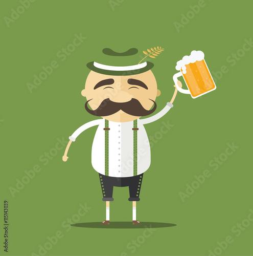 Tableau sur Toile Netter Bayer in Lederhose mit Maß Bier in der Hand - Vektor