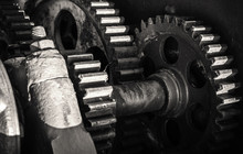 Old Rusted Gears, Close-up Bla...
