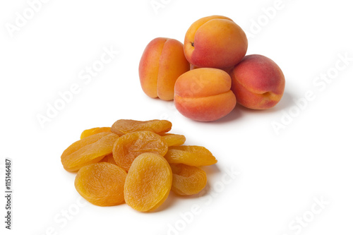 Healthy fresh and dried apricot fruit
