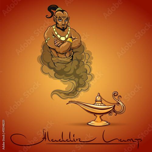 Fotografie, Obraz  Oriental tale illustration of genie aladdin lamp and text