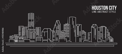 Pejzażu miejskiego budynku Kreskowej sztuki Wektorowy Ilustracyjny projekt - Houston miasto