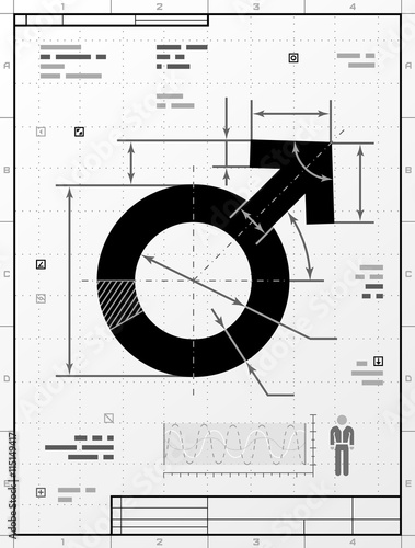 Male symbol as technical drawing Wallpaper Mural