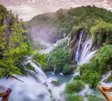 Fototapeta Do pokoju - Wodospady w Parku Narodowym Jezior Plitwickich,Chorwacja