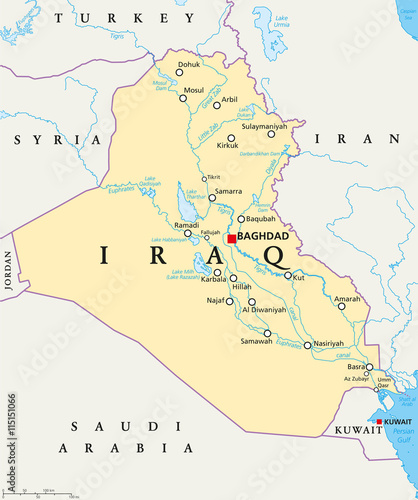 Iraq political map with capital Baghdad, national borders, important ...