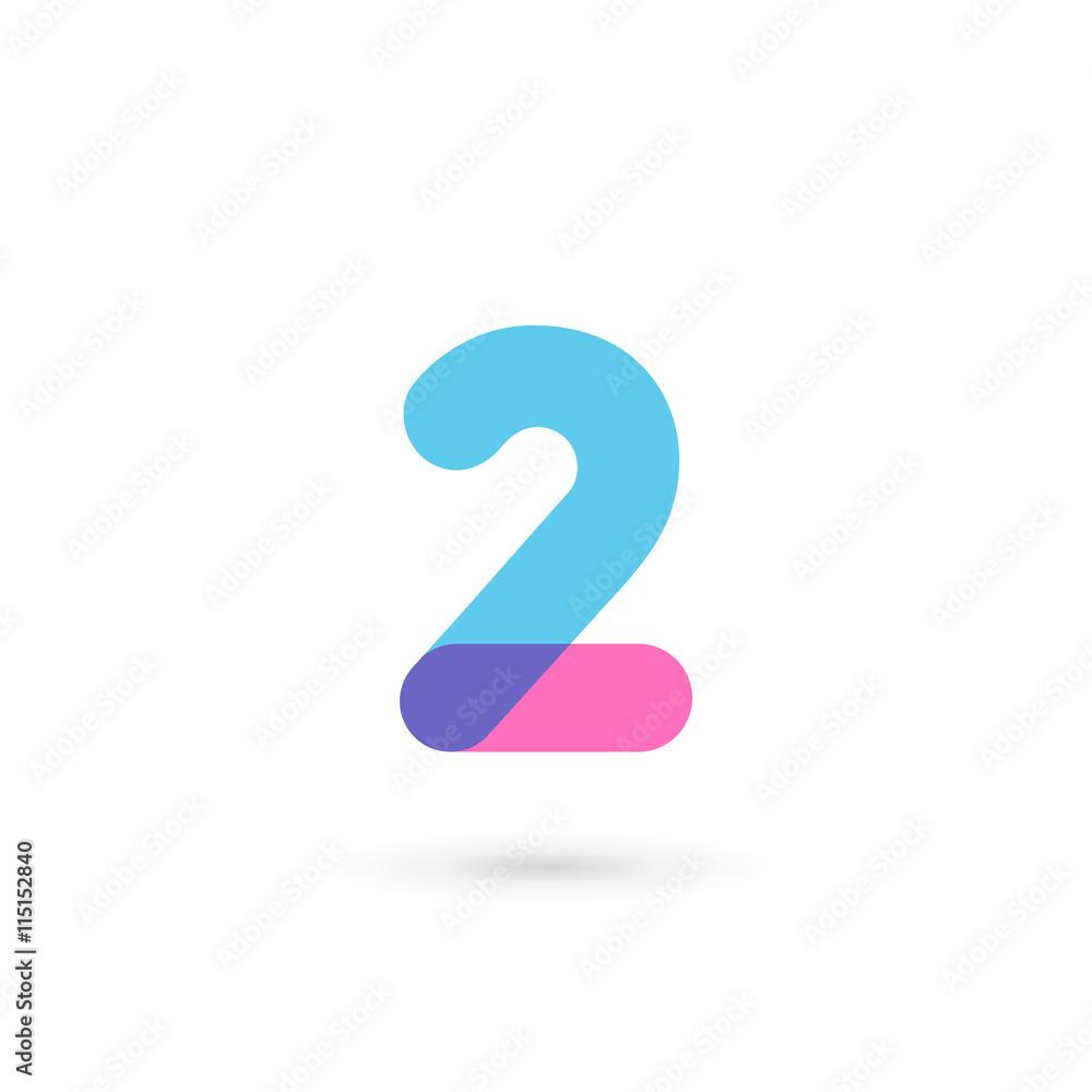 Fototapeta Number 2 logo icon design template elements