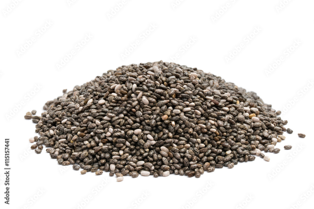 Fototapety, obrazy: Pile of chia seeds close up on a white background