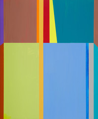 Obraz An abstract painting; vertical bands and rectangular blocks of color.