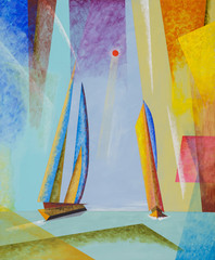 Panel Szklany Marynistyczny A semi-abstract seascape with yachts.