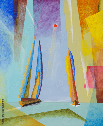 A semi-abstract seascape with yachts. - 115159010