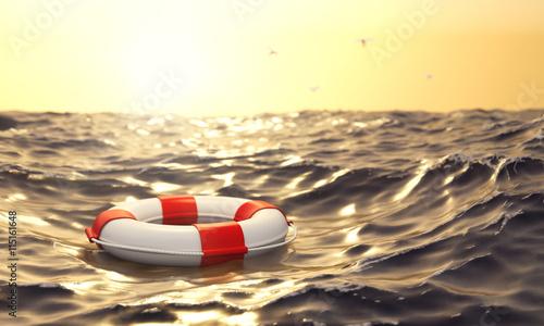 schwimmender Rettungsring im Meer Wallpaper Mural