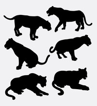 Tiger Wild Animal Silhouette. Good Use For Symbol, Logo, Web Icon, Mascot, Game Element, Sticker Design, Sign, Element, Or Any Design You Want. Easy To Use.