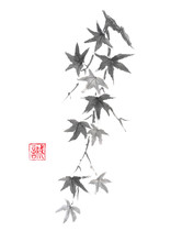 Japanese Style Original Sumi-e Maple Branch Ink Painting.
