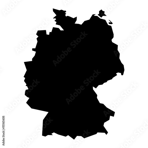 Black simplified flat silhouette map of Germany Wallpaper Mural