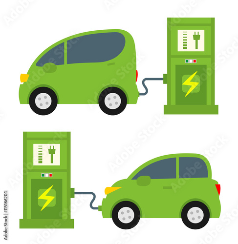Electric Cars And Charging Station Side View In Flat Style Isolated
