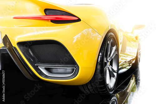 back-of-a-yellow-sport-car