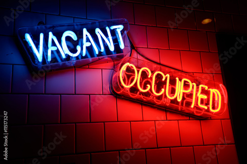 Neon Signs Light Up A Wall - Buy This Stock Photo And Explore