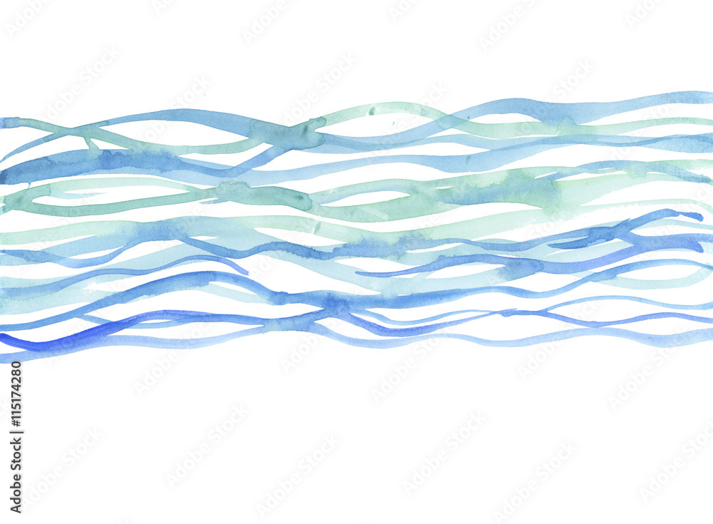 Fototapety, obrazy: river background. sea watercolor illustration. blue water hand d