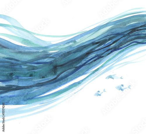 Fototapeta waves background pattern. sea watercolor illustration. blue wate obraz