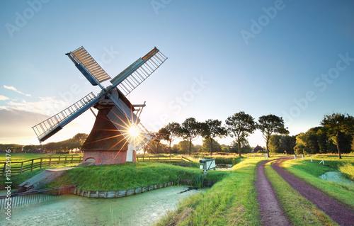 Fotografía  Sol de la mañana detrás de molino de viento holandés