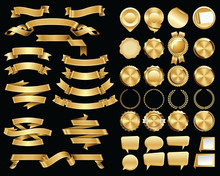 Set Of Gold Ribbons And Certif...