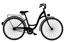 Bicycle Silhouette Isolated On White Background, Vector EPS10