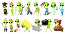 Vector Set Of Aliens Profession Illustrations.