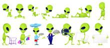 Vector Set Of Funny Green Aliens Illustrations.