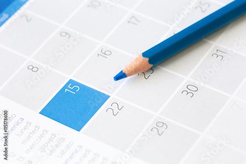 Fotografía  Pastello azzurro su calendario