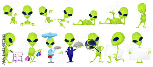 Fotografie, Obraz Vector set of funny green aliens illustrations.