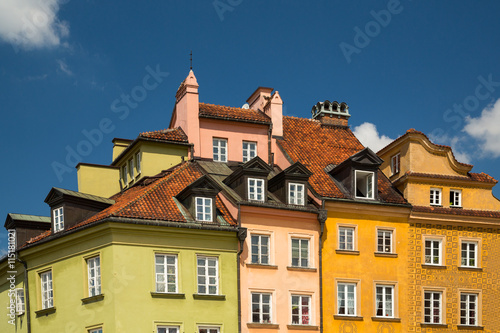 Photo Stands A close up of buildings in Castle Square in Warsaw, Poland