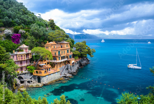 Stunning view on a beautiful bay before storm in Portofino, Italy Wallpaper Mural