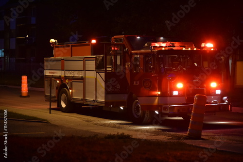 Photo Stands Motor sports Fire truck at night time