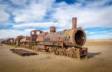 Abandoned Rusty Old Train In Train Cemetery, Bolivia