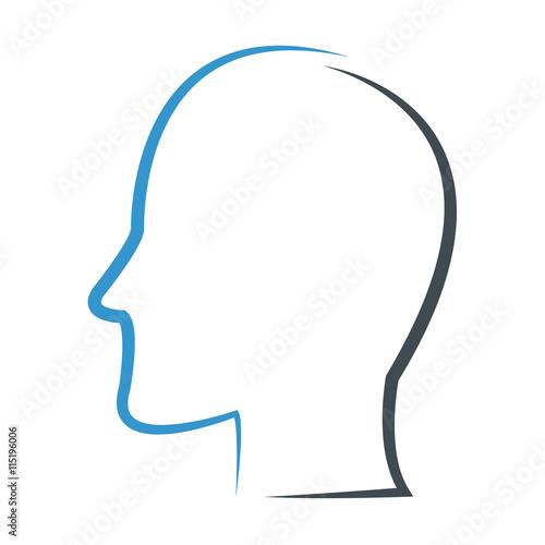 head profile outline icon Fototapet