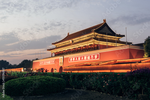 Foto op Aluminium Beijing Tienanmen, Gate of Heavenly Peace, Beijing, China. The main entrance of Forbidden City.