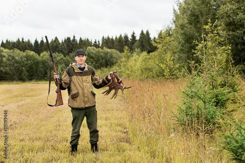 Fotobehang Jacht hunter man, autumn