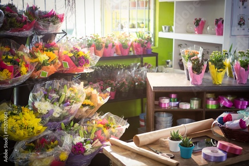 Bouquet of flower and gift wrapping items