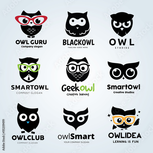 Poster Uilen cartoon Owl logo set