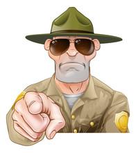 Pointing Cartoon Park Ranger