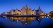 canvas print picture - Panorama of old town Ghent