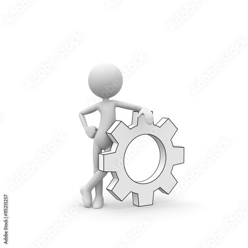 3D Cartoon Karakter - Weißes kleines 3D Männchen als Mechaniker ...