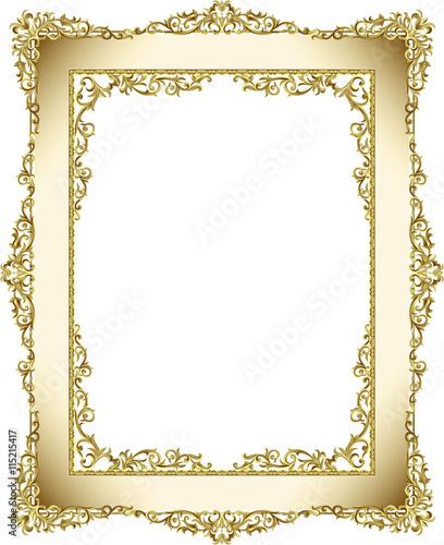 e88eb8c9031 Vintage frame border line floral design gold color elegant design ...