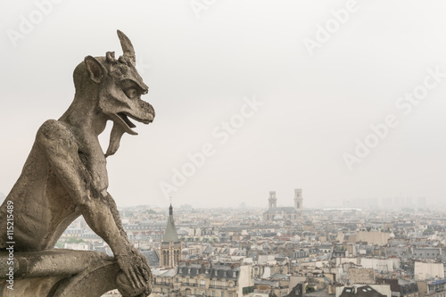 Fotografie, Tablou Gargoyle over paris at Notre Dame on an overcast day