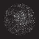 Halftone okrąg, czarny i biały, wybuch, wektorowa ilustracja EPS 10 - 115218454