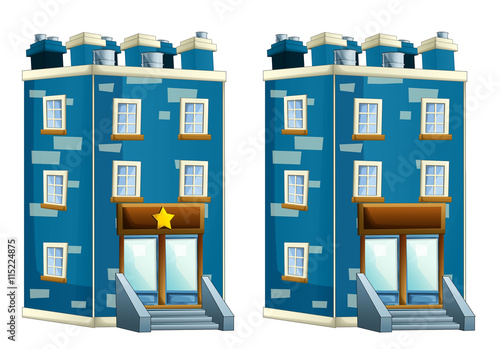 Fotografía  Cartoon illustration of house - police station or some other like block of flats