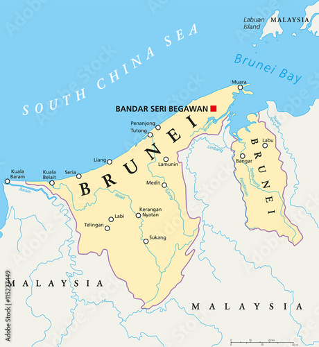 Map Of Asia Brunei.Brunei Political Map With Capital Bandar Seri Begawan National