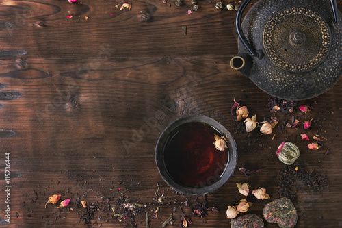 Photo  Assortment of tea as background
