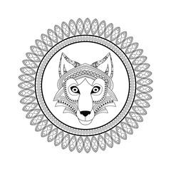 Wolf  icon. Animal and Ornamental predator design. Vector graphi